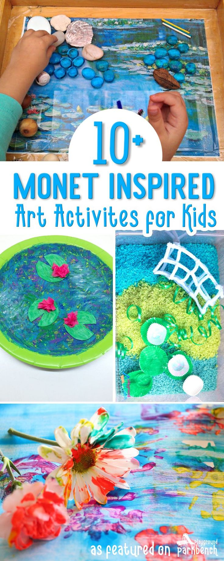 Monet Art for Kids of all ages. Using different techniques (resist, finger painting, collage, and more), and Impressionist works by Monet, kids of all ages, from toddlers and preschoolers, to elementary age artists, will be inspired to create these fun works of art via @playgroundpb