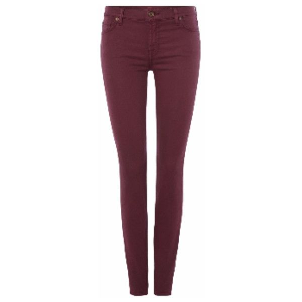 7 For All Mankind Burgundy Slim Jeans (€77) ❤ liked on Polyvore featuring jeans, 7 for all mankind skinny jeans, american jeans, 7 for all mankind, slim skinny jeans and 7 for all mankind jeans