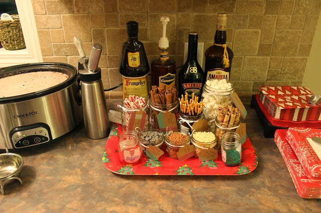 Hot chocolate bar - Crock pot hot chocolate recipe Doing this for sure! @Stephanie Sunzere this would be cute for Christmas Eve :)