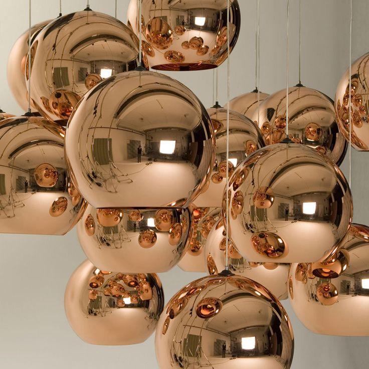 Copper Shade by Tom Dixon - a cheaper alternative: spray paint glass fish bowls!