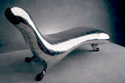 Marc Newson's aluminium Lockheed Lounge.