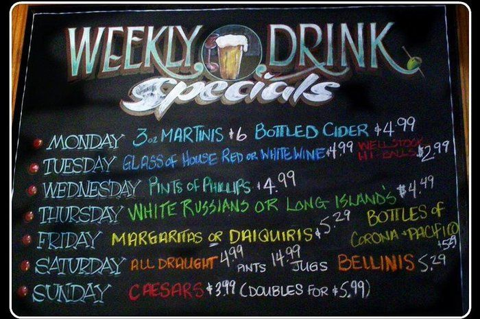 Image Result For Bar Drink Menu By Day Specials Sample Bar Drinks Drink Menu Drinks