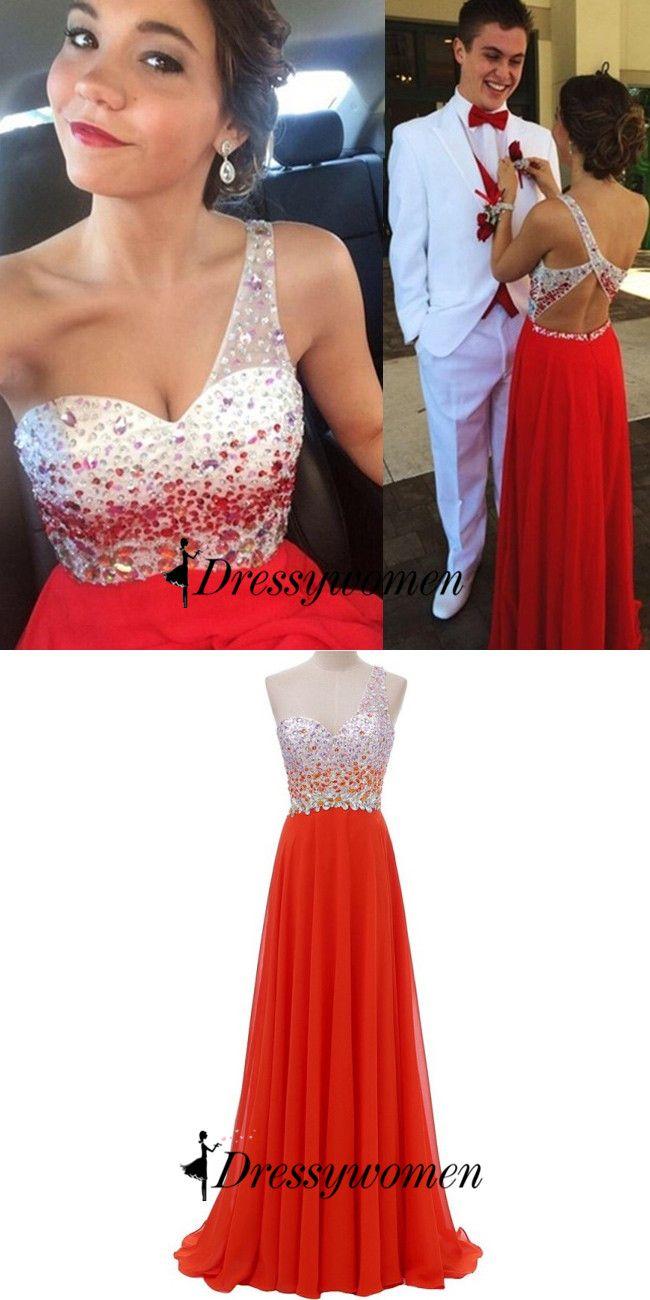 2016 prom dresses, beaded one-shoulder prom dresses, long prom dresses, red prom dresses