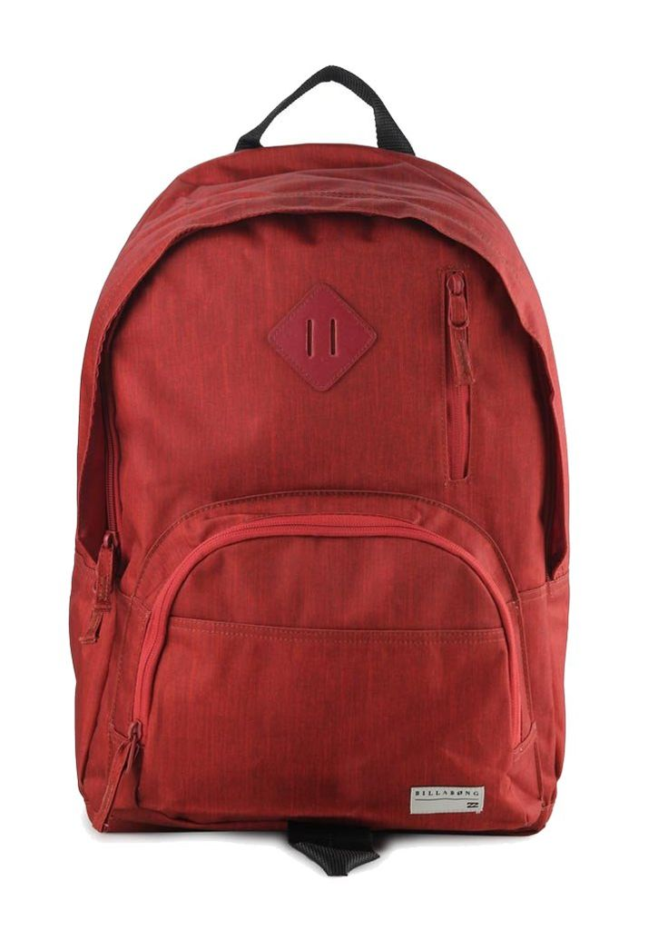 Atom Backpack by Billabong. Made from polyester, with red color this Atom backpack has one main compartment, zipper closure, front pocket, top carry handle, adjustable padded strap. Trendy backpack for school or for a holiday. http://www.zocko.com/z/JHQjv