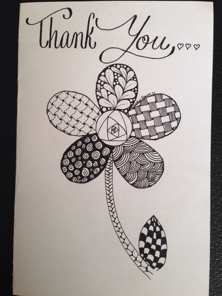 An amazing Zentangle flower thank you card-By Ashley Anderson