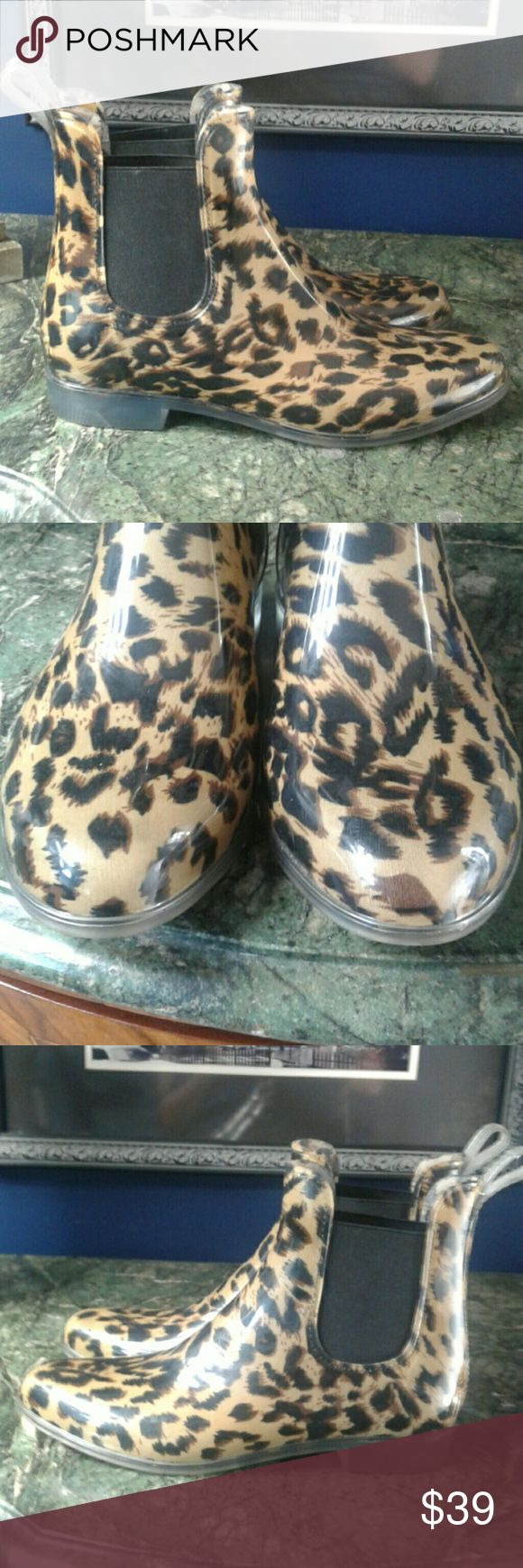 J Crew Chelsea rubber rain boots 10 New with out box leopard print rubber rain boots J Crew Shoes Winter & Rain Boots
