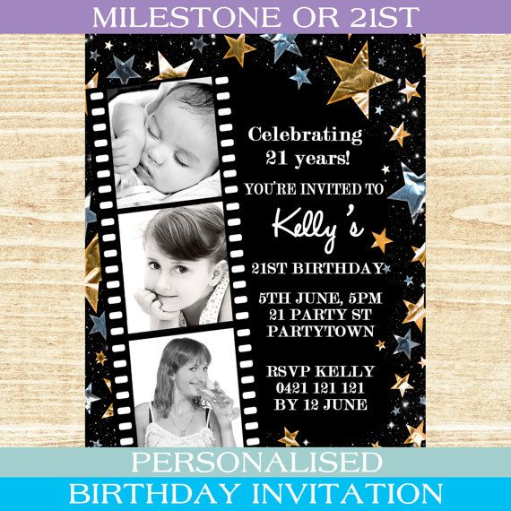 Personalised black gold silver star stars theme special birthday – Personalised 21st Birthday Invitations