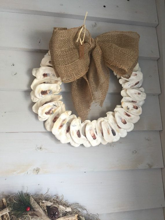 12 Oyster Shell Wreath by Shelleeshells on Etsy                                                                                                                                                     More