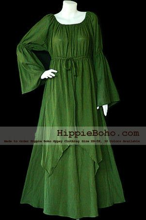 No.41 - Size XS-5X Hippie Boho Clothing Gypsy Long Sleeve Bell Sleeve Olive Green Plus Size Costume Full Length Maxi Dress