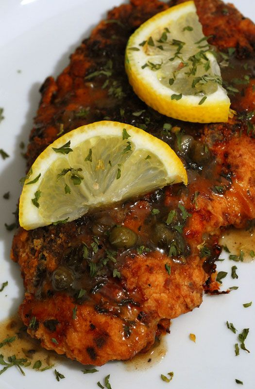 Chicken Piccata - Ina Garten - it's VERY lemony! Be warned. Next time I probably won't add the reserved lemon halves and cut down the lemon juice, and put in more butter. With a few changes, could be a very delicious chicken dish (Dec 22).