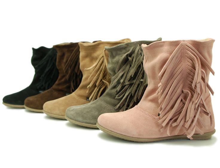 Tienda online de calzado infantil Okaaspain. Calidad al mejor precio fabricado en España. Botín de serraje con flecos.