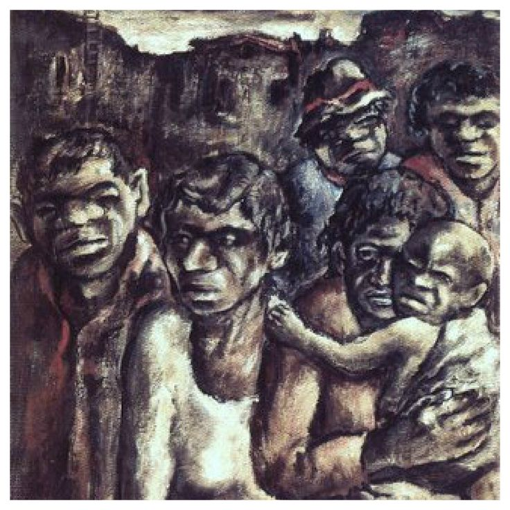 Aboriginals in Fitzroy. Yosl Bergner ( b1920) Bergner's paintings show a empathetic concern for the sufferings of the disenfranchised and landless, having himself fled from the rampant anti semitism of Nazi Germany in 1937.