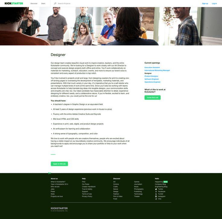 Kickstarter #careers #detail #webdesign