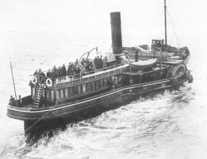As soon as the last passenger and sack of mail had been transferred, the Titanic's whistles gave a long blast, a signal for the tenders, bumboats, and any nearby small craft to stand clear. Gangways were dropped, lines cast off, and, with a ringing of telegraph bells, the great ship got under way again.