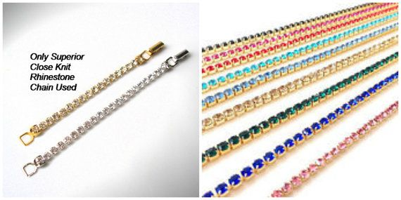 Necklace Extender COLORED Rhinestone GOLD Extender Fold-Over Clasp  Chain Extender Necklace Lengthener Silver Extender Necklace Extension by CrystalPearlJewelry