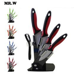 Brand Mr.W High Quality Ceramic Knife Set 3 inch + 4 inch + 5 inch + 6 inch + peeler + Acrylic Holder Kitchen Knives Sets