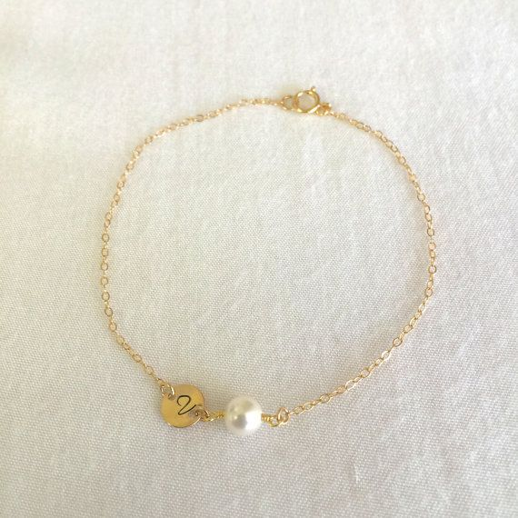 Dainty Personalized Disc Pearl Bracelet by StampedSchmuck on Etsy