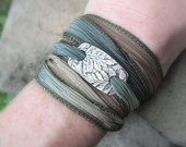 Silver Leaf Bracelet- Fern- Made From Real Leaves- Silver & Silk- Artisan Handcrafted with Recycled Silver and Hand Dyed Silk