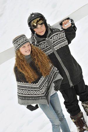1011: Modell 2A&2B Poncho, pannebånd, fingervanter og snowboard mariusjakke #strikk #knit #marius #klassiker