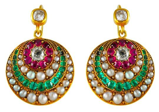 Emerald, ruby, pearl and diamond and gold earrings c 1880