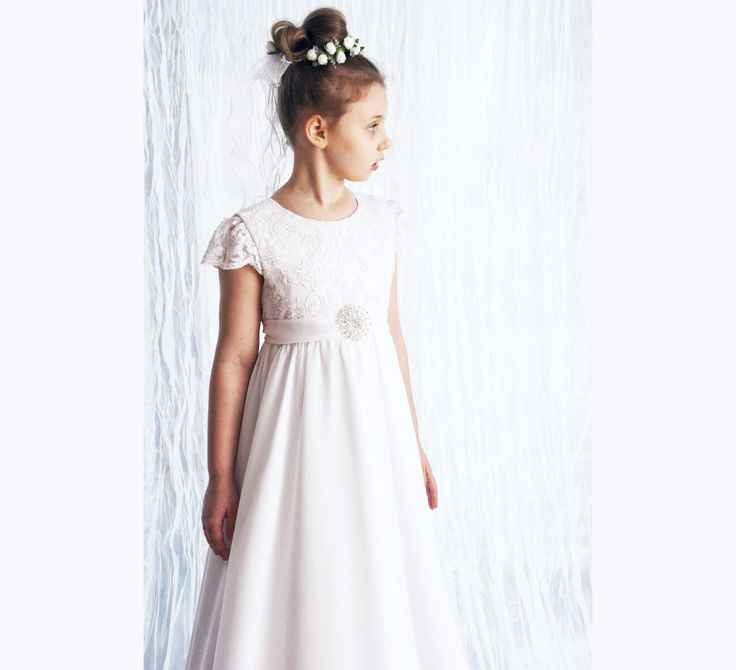 First Holy Communion dress in white, with very delicate lace, chiffon, with a beautiful brooch decorated by MonikaVenika on Etsy https://www.etsy.com/listing/226465644/first-holy-communion-dress-in-white-with