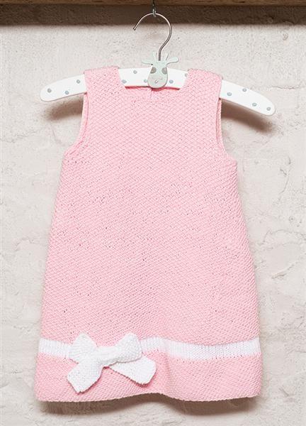 1309: Modell 4 Kjole med sløyfe #strikk #bomull #knit #cotton