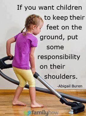 """Responsibility is all about choices, chores, being accountable in everything we do.  it is a wonderful way build and develops """"responsibility"""" at home. So, at your next family meeting, discuss and develop a list of chores and that he or she will be responsible for doing. Parents talk to your child about spending and saving and it may lead to giving to a charitable organization. Dane Watson"""