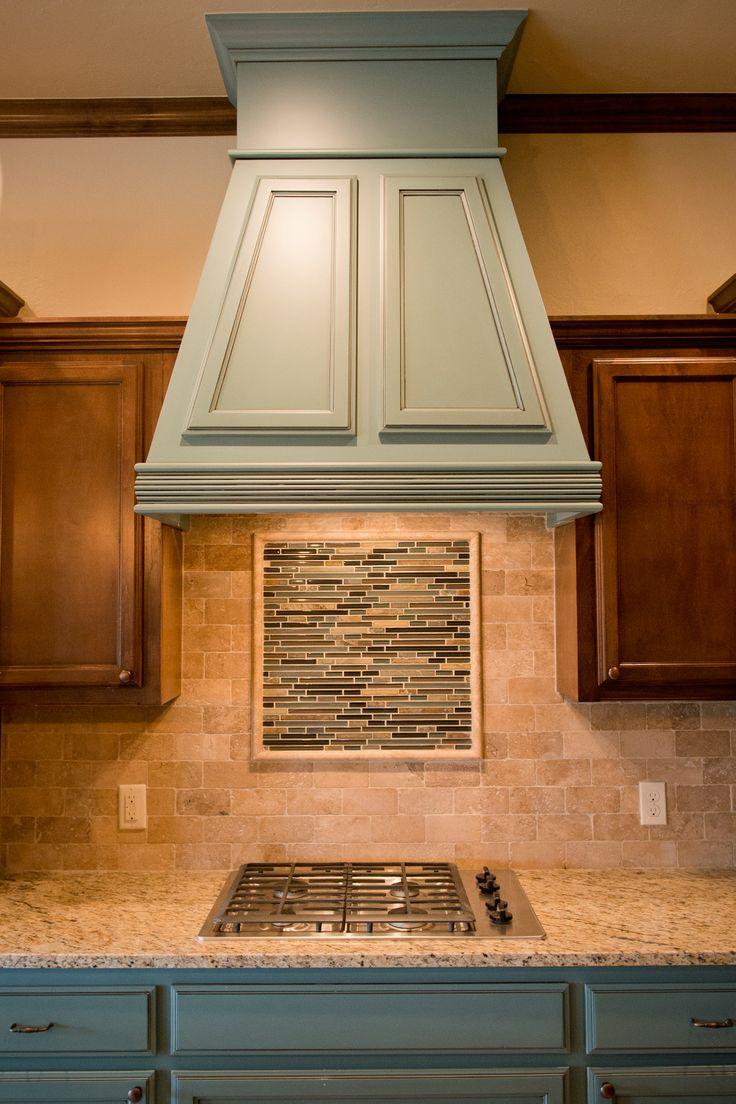 46 best beacon kitchens images on pinterest kitchen ideas custom kitchen blue vent hood with mosaic tile detail in backsplash