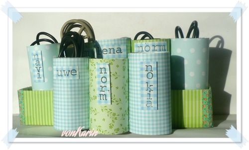 Papprollen - Ordnung für Kabelsalat / Paper roll organizers for cables / Upcycling