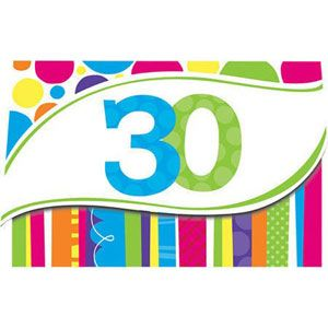 20890312 - Invitations - 30th Birthday Bright and Bold Bright and Bold 30th Birthday Invitations, Cardboard and are lined inside with headings for the following party details: For, Date, Time, Place, Given By and R.S.V.P. - Pack of 8  Please note: approx. 14 day delivery