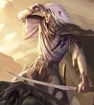 Drizzt.  One of the most engaging, deep, well-made characters in the setting.  He is a Dark Elf, or Drow, but a rare one in that he is not evil, but noble and heroic.
