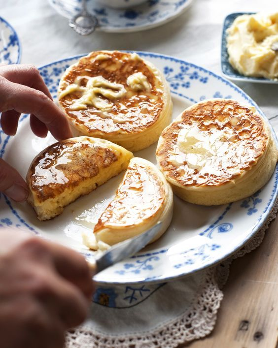 English Crumpets and Butter. I got a pack from Trader Joe's yesterday, and they are already gone! They were a hit with the family :)