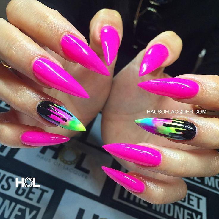 Multicolor Neon Paint Drip Stiletto Nails