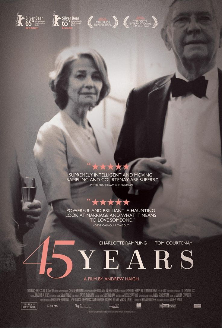 45 Years offers richly thought-provoking rewards for fans of adult cinema -- and a mesmerizing acting showcase for leads Charlotte Rampling and Tom Courtenay.