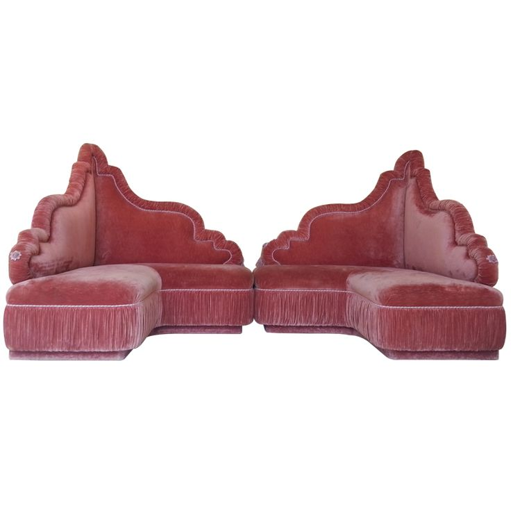 1st dibs. Two-piece Baroque style hollywood regency boudoir sofa custom made for Barney's New York of Dallas. Both pieces can free stand individually or be used in a number of different configurations.