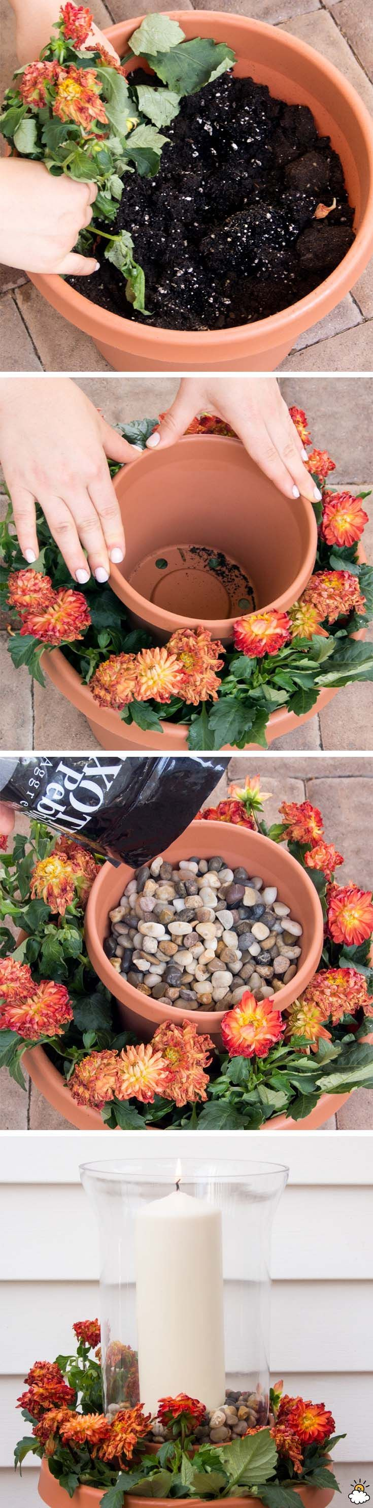 Flower Pot Candle Holder Transforms The Whole Garden