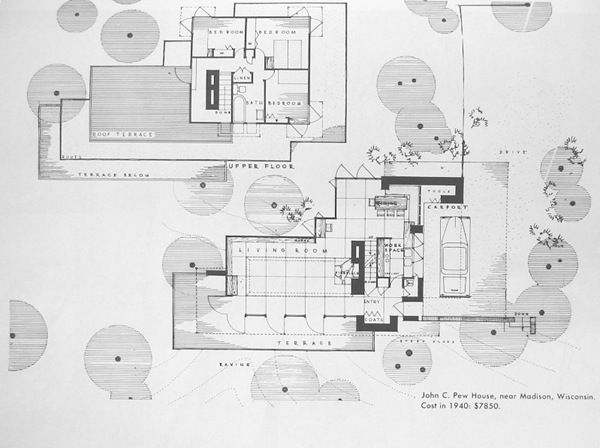 Plans john c pew house madison wisconsin 1940 usonian Frank lloyd wright house plans free