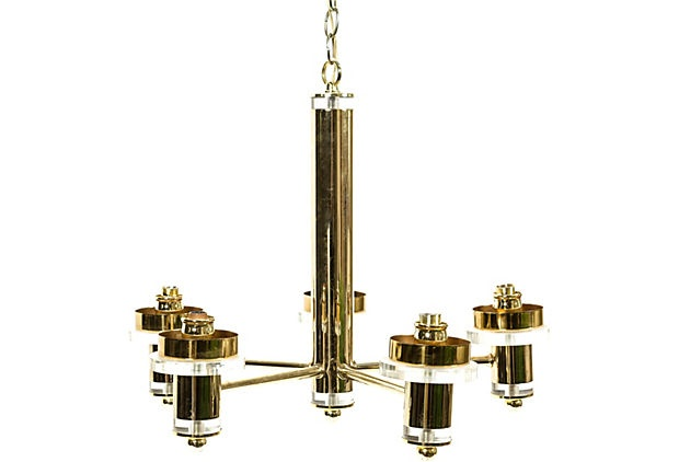 Vintage brass and lucite chandelier
