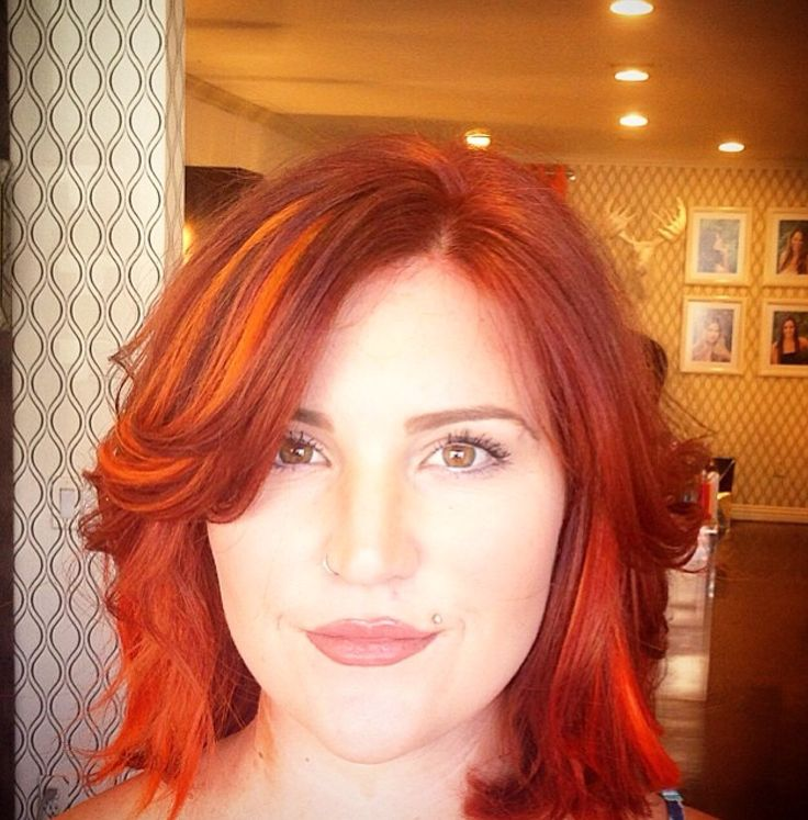 Orange Hair Orange Bob Cute Highlights Orange Red Lip