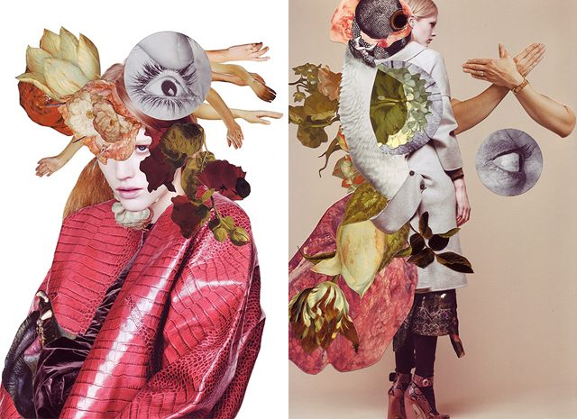 In collaboration with stylistKathi Kauderand photographerSabrina Theissen, mixed media masterAshkan Honarvar created these mind bending collages for I Love You Magazine. Vanitassymbolsare used in combination with elements of fashion and nature to find a balance between life and death.