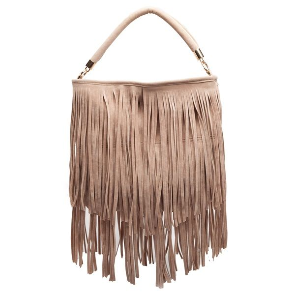 Beige shoulder bag with fringes and suede texture.