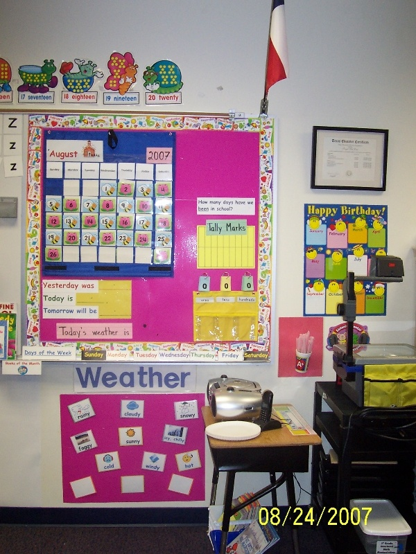 Ms. Lam's Math Calendar Wall from my first grade classroom in 2006.