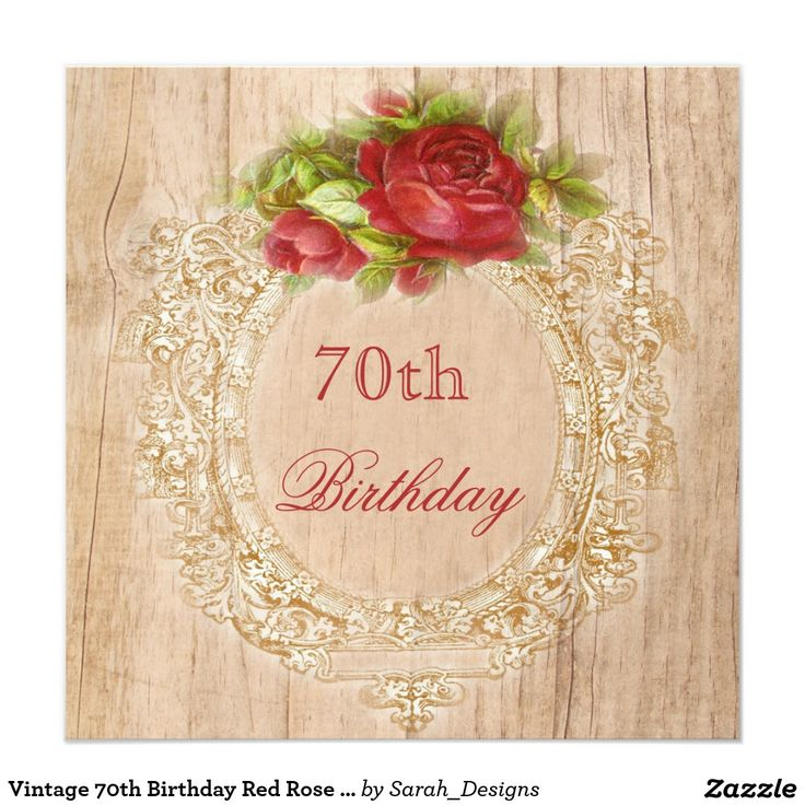 70.o marco de madera del rosa rojo del cumpleaños