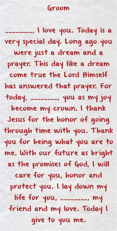 Christian Wedding Vows Examples For Groom And Bride Wedding Dreams
