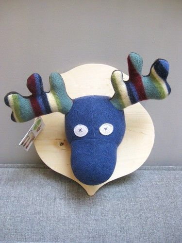 One-of-a-kind Stuffed Moose Wall Plaque, Handmade in Toronto Ontario. @ Ma Zone