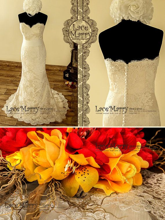 Exclusive Lace Wedding Dress in Slim A Line Style by LaceMarry