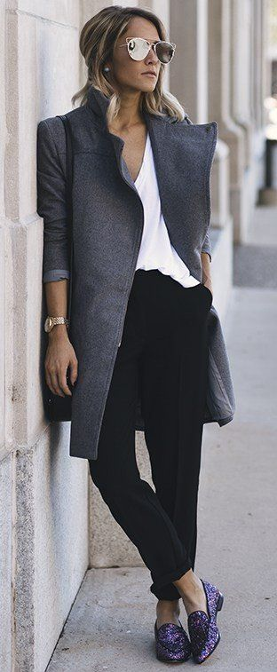 Grey + black and White + Pop Of Purple                                                                             Source