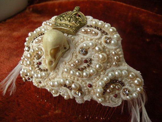 Schedel Bridal zendspoel vintage faux parels vogel door jennieshox