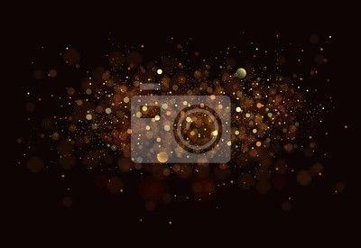 Fotobehang Goud. Glitter vintage lichten achtergrond. donker goud en zwart €88