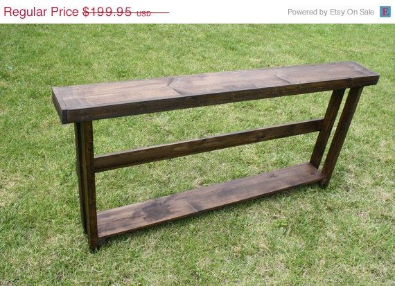 Rustic Sofa Table Entryway Entry Narrow Console Hall Accent Shelving